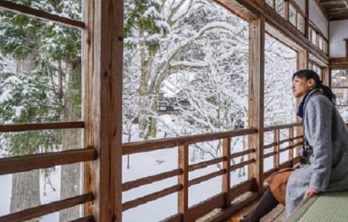 こんなところに来たかったんじゃ~♪雲洞庵で雪景色に浸る。